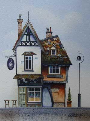 Gary Walton watercolour 'The Ship'