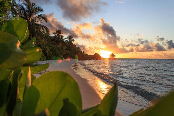 Sunset at Kuramathi island resort in Maldives