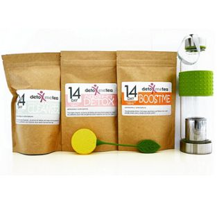 """14 DAY ULTIMATE DETOX TEA PROGRAM (3 PACKS ) + a """"FREE"""" SILICONE LEMON SHAPE TEA STRAINER VALUED AT US$5 This contains - The 14 Day Detox (Morning and Night) Packs - The BoostMe Energy tea - The Sport"""