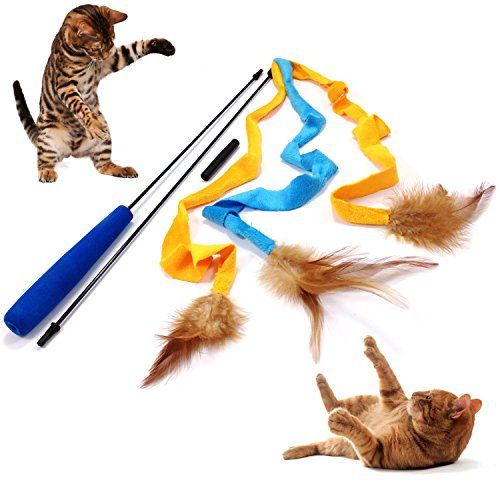 Pet Fit For Life 3 Soft Strands with Feathers Teaser and Exerciser For Cat and Kitten  Cat Toy Interactive Cat Wand *** Want additional info? Click on the image.