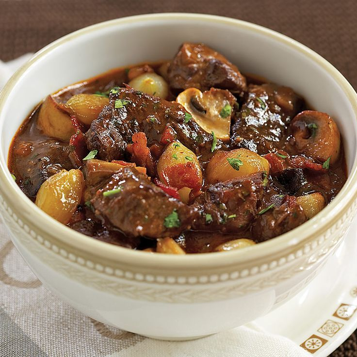 Slow Cooker Beef Burgundy (Boeuf Bourguignon). Served with boiled potato quarters - delicious.