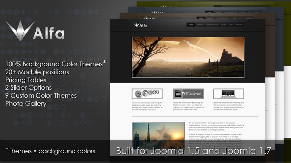 Alfa is a simple yet proffesional Joomla Theme suitable for business or creative websites. It comes with a package of nine color themes and the easy of creating unlimited color themes to suite any anyone's taste. This is by ensuring that only the css body background color defines the color themes, which can be easily edited to create the color themes you like best.