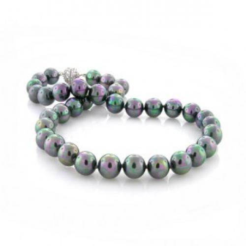 Bling Jewelry Rainbow Color Shell Pearl Necklace 10mm