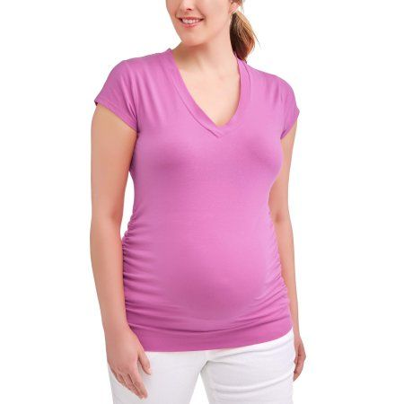 210cb0b7fb3 Oh! Mamma Maternity Basic V-Neck Tee With Flattering Side Ruching--Available  in Plus-Size, Purple