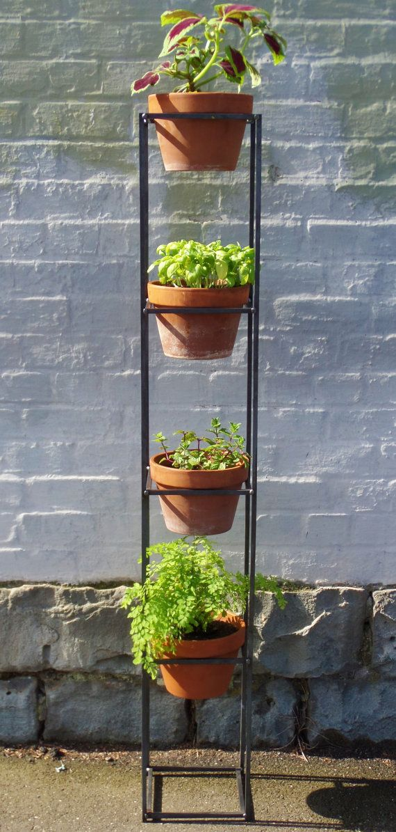 Vertical garden. A steel plant stand for both indoor and