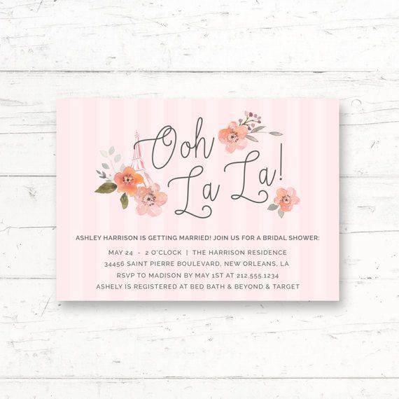 French Parisian Bridal Shower Printable Invitation by CrissyDesignCo