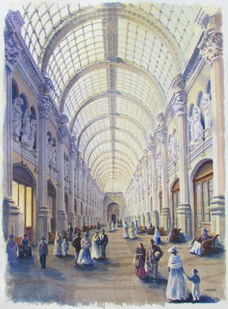 Acuarela. Representa galeria San Carlos. Santiago. Chile. Existió desde 1870 hasta 1930.