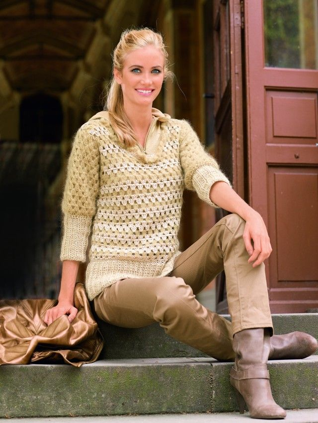 Nydelig, trendy heklet genser i deilig, myk garnmiks.