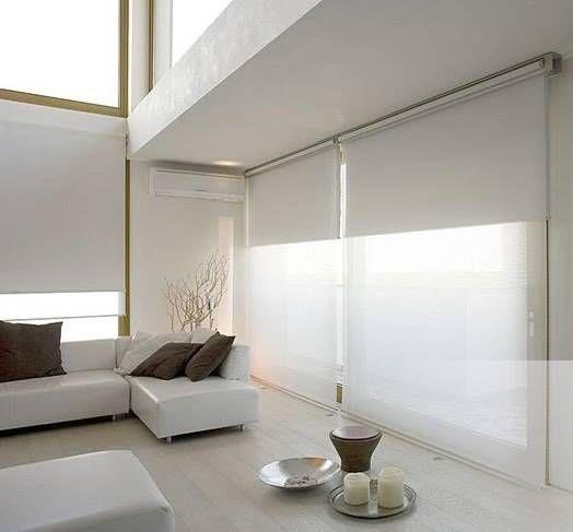 fotos de salas de estilo minimalista persiana enrollable dia y noche