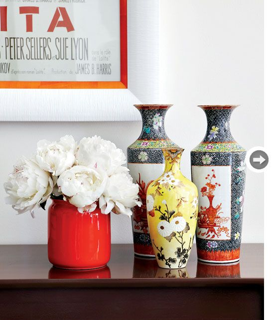 Home decor accessories: Pretty patterned vases {PHOTO: Virginia MacDonald}