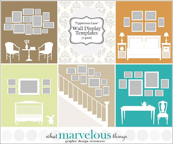 Photo Wall Display Templates  Uppercross by WhatMarvelousThings, $19.00
