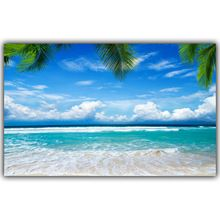 Zomer Zon en Strand, zee Palm En Mountain Landschap Muurschildering Woondecoratie Foto Silk Canvas Print FJ569(China (Mainland))