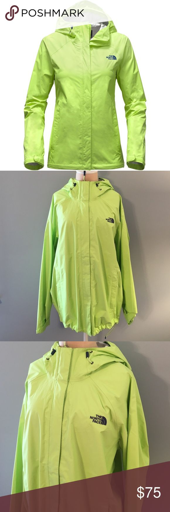 Women's The North Face Venture Jacket Size XXL. Color is Sharp Green. The Women's Venture offers superior year-round storm protection, whether you're in the back woods, or back in the city. It's a waterproof, breathable, seam-sealed, 2.5-layer shell with an attached and fully adjustable hood. The stormflap center closes with Velcro tabs, protecting the zipper area and the hand pockets secure-zip, avoiding leakage, as well. The hem has a cinch-cord and the whole thing folds up and stows away…