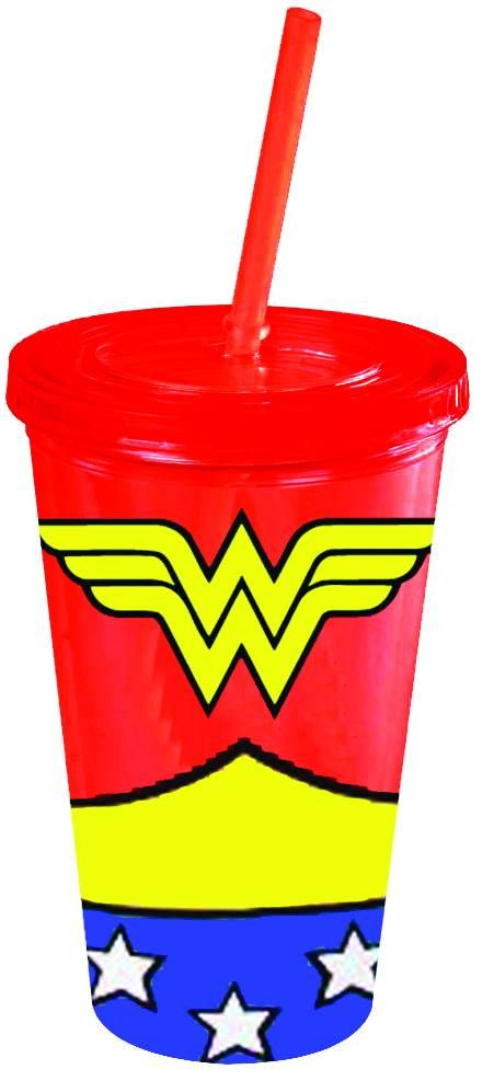 cool gear cups with straw | ... - WONDER WOMAN UNIFORM 16OZ COLD CUP W/LID & STRAW (C: 1-1-3
