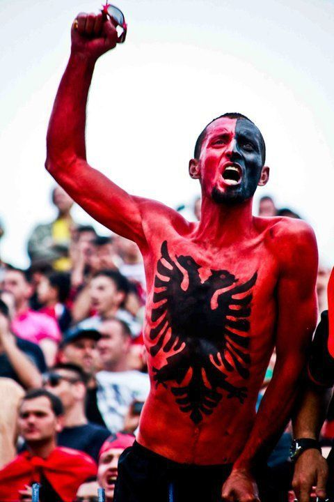 In a football match. The Albanian Spirit.
