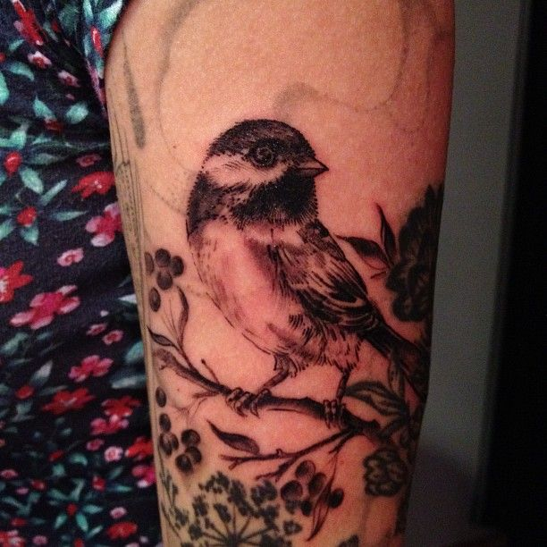 Chickadee tattoo by Esther of Butterfat Studios