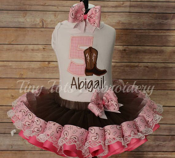 Cowgirl Tutu Outfit  Cowgirl Birthday Outfit  Includes Top