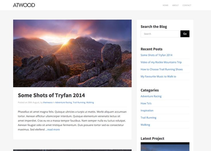 The Atwood free WordPress blogging theme. More info: http://curatable.net/20-free-wordpress-themes-i-would-actually-use-to-start-a-new-blog-in-2016/