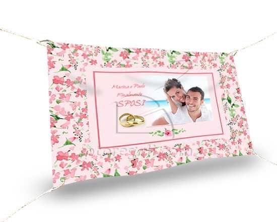 Striscione grande personalizzato con grafica con fiori rosa