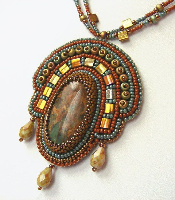 Bead Embroidery necklace Terracotta green by NoraTordaiJewelry
