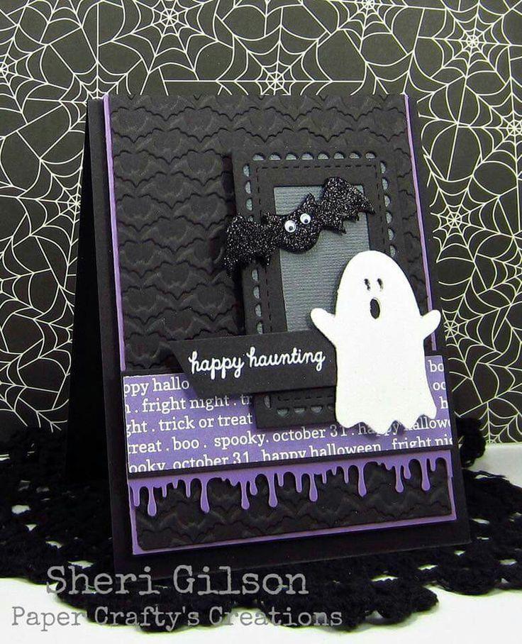 card Halloween ghost spokky booh bat bats black white purple                                                                                                                                                                                 More