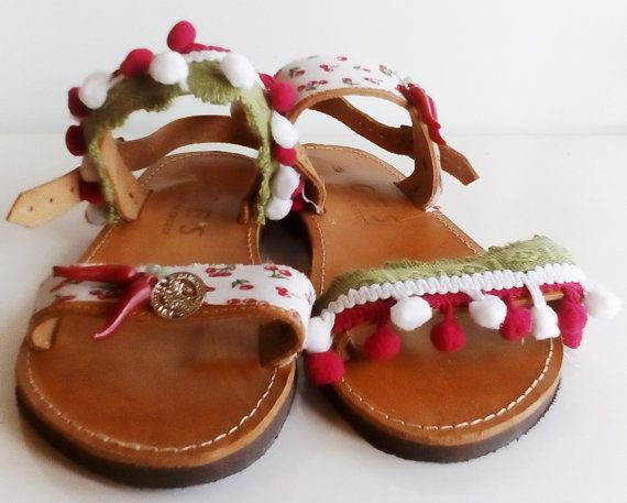 Handmade sandals, Greek sandals, Pom pom shoes, Bohemian shoes, Casual sandals, Summer barefoot, Gift for girls, Strawberries, Red Green