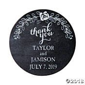 Personalized Chalkboard Floral Wedding Favor Stickers