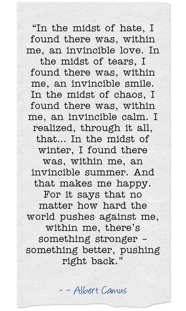 ... In the midst of  -- Albert Camus