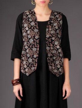 Black - Purple Floral Cotton - Wool Reversible Jacket