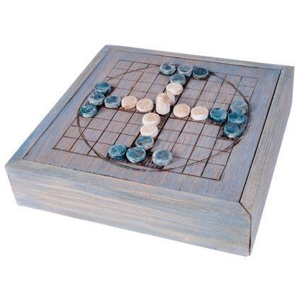 Tablut - Juego de mesa céltico de estrategia - Caja de madera en azul vintage