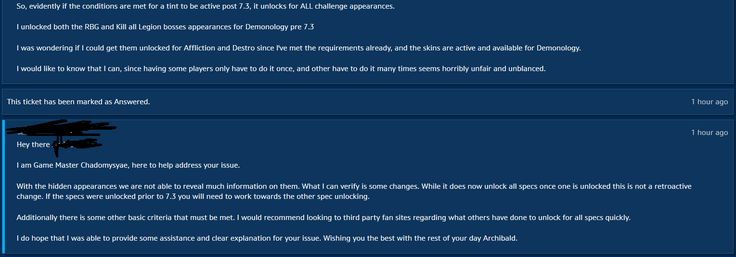 If you meet the requirements post 7.3 for your challenge artifacts you have the tints unlocked across all 2-4. If you unlocked all 4 tints on one prior to 7.3 you have to do it again to unlock it for your other weapons. That's some Horse shit. #worldofwarcraft #blizzard #Hearthstone #wow #Warcraft #BlizzardCS #gaming