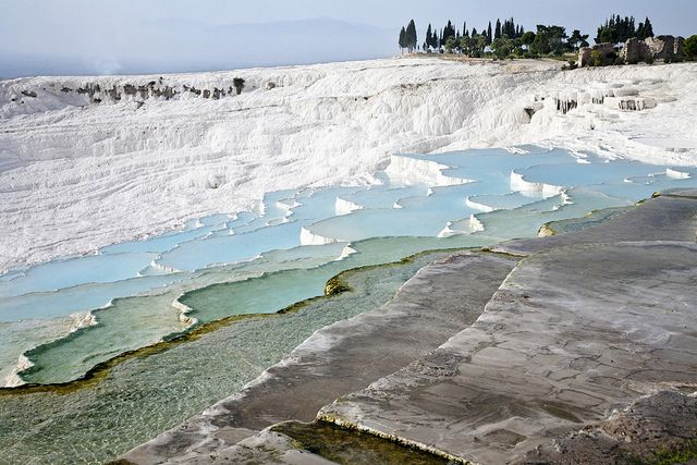 turkey -- The cascading pools of Pamukkale are said to have curing powers from the last century BC. People still enjoy soaking their feet from days of travel.