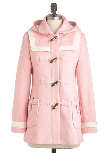 Duffle the Fun Coat by Di K Si - Pink, Tan / Cream, Solid, Pockets, Trim, Casual, Long Sleeve, Fall, Winter, Mid-length, 3, Pastel, International Designer