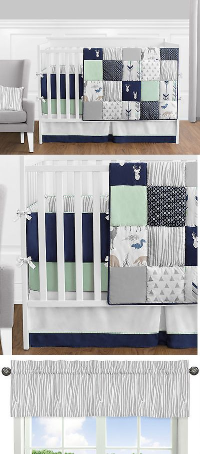 Baby Nursery: Sweet Jojo Navy Mint Gray Deer 9Pc Newborn Baby Boy Crib Bedding Set Collection BUY IT NOW ONLY: $169.99