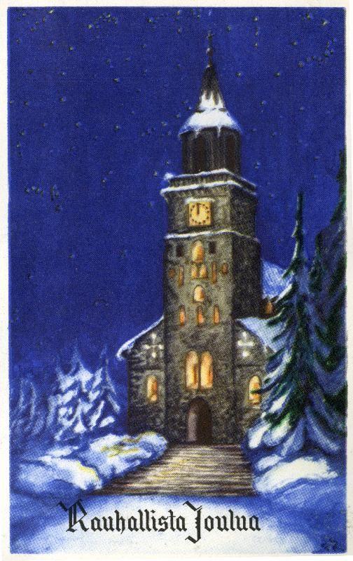 Rauhallista Joulua #joulu #joulukortit #kirkot #churches #christmascards Kirjavälitys Osakeyhtiön arkisto