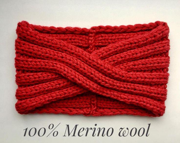 Knit Headband-Merino wool Turban-5 color-Bandeau laine-Women headband-Winter Headband-Knit turban-Women turban-Wide knit headband-Red turban