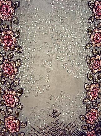 c. 1926 Ice Blue Cotton Net Beaded Roses Flapper Dress! Attributed Parisian or Belgian
