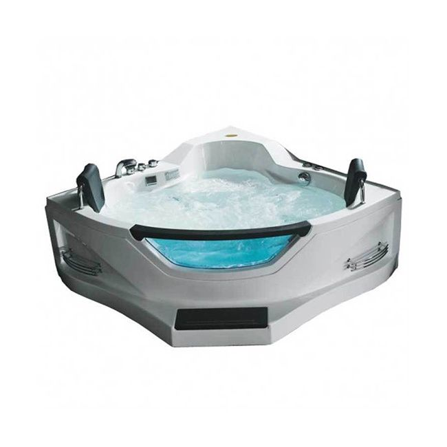 With two seats, this whirlpool bath with pillow cushions has multiple jets that are ergonomically located for powerful and comfortable acupuncture hydro massage. Whirlpool jet intensity can be adjusted at your wishing level.