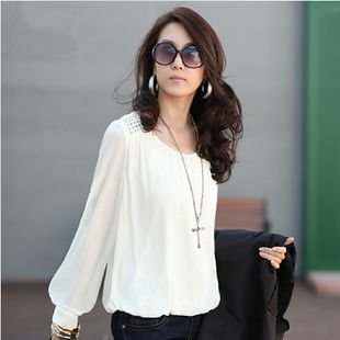 Women Long Sleeve Casual Rivet Chiffon Blouse Tops