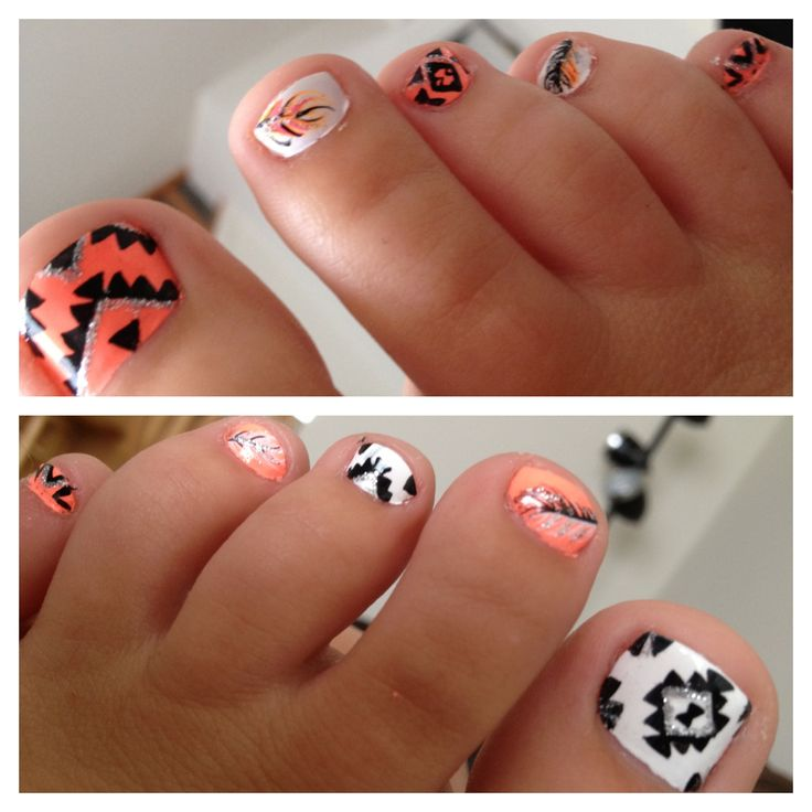 for my toes with simple coral gel nails and feather art on hands... Aztec and feather nail art by Jeanette at Sky Salon in Mt. Pleasant MI :)