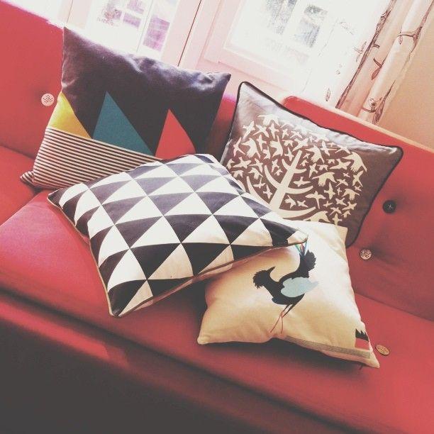 Gullfuglen cushions at home @Fresh Mess   # funkle