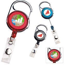 Carabiner Badge Holder (65159). Carabiner clips on backpacks, briefcase or belt loops. #livebicgraphic #promoproducts