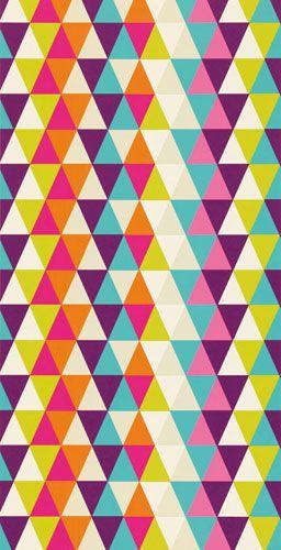"Kaleidoskopmönster i turkos, orange, cerise, beige, limegrönt, lila och vitt""Kaleidoscope"""