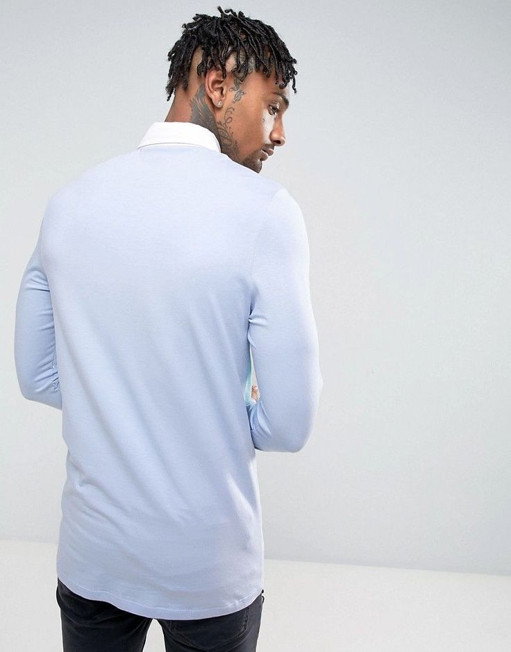 ASOS Muscle Long Sleeve Rugby Polo Shirt In Blue With Contrast Panel -