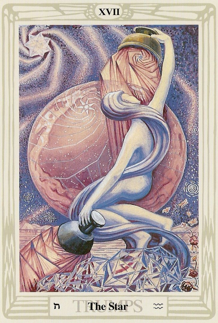 'The Star' - The Tarot card that represents Aquarians. This card comes from the Thoth deck bt Aleister Crowley. --> http://All-About-Tarot.com <-- She is so flexible. She's a Yogi.
