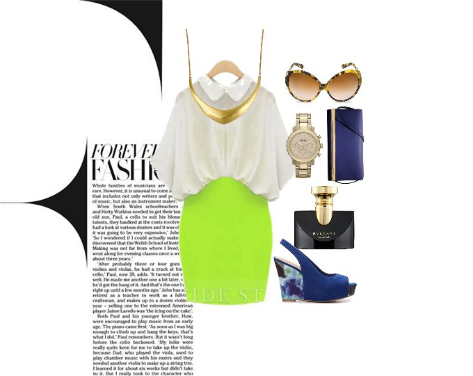 Classy White and Neon Dress  #Faballey #elitify #Tidestore