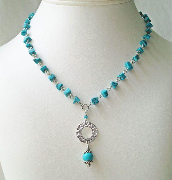 Südwestliche Türkis Halskette und Ohrringe Set, Boho Style Schmuck Halskette
