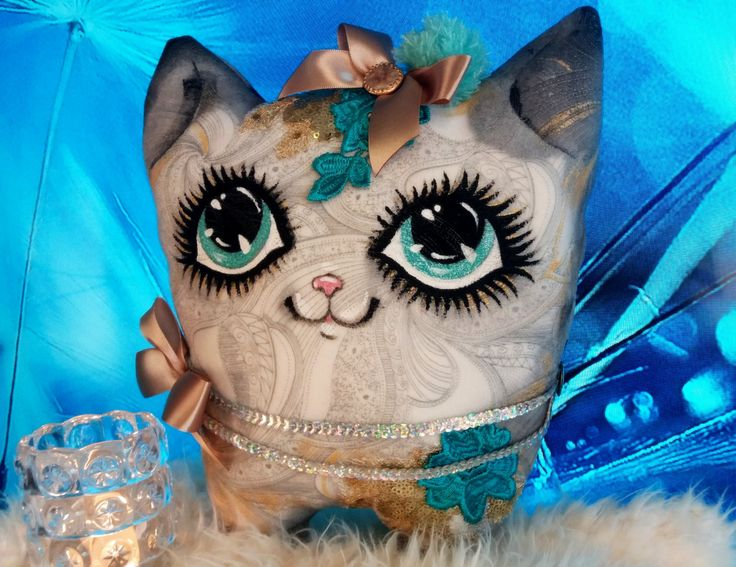 MeowsieDOLL/Toys/Cats/textile art/handpainted/decor pillow/OOAK/Christmas gifts/cat pillow/cat doll/pet lovers/cat lover gift/crazy cat lady by TootsieDollsByTeo on Etsy