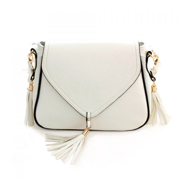 Sweet Solid Color and Tassels Design Women's Crossbody Bag