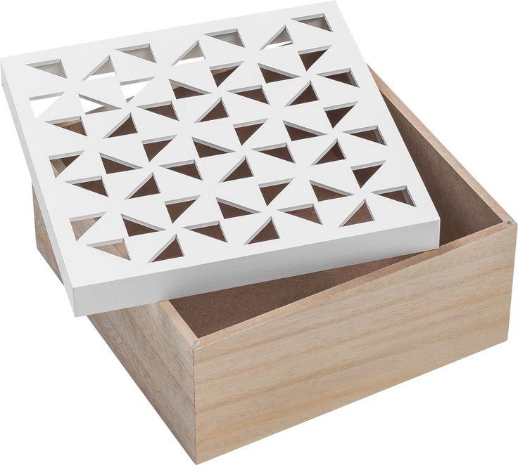 Cechy i korzyści: Pojemnik z pokrywką Vento to doskonałe miejsce do przechowywania biżuterii lub innych drobiazgów. Pokrywka posiada ozdobne otwory w kształcie drobnych trójkątów. W ofercie VOX ...